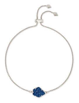 Theo Silver Adjustable Chain Bracelet In Blue Drusy by Kendra Scott