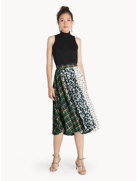 Midi Mixed Print A Line Skirt by Pomelo