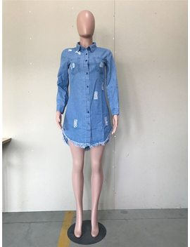 Autumn Womens Button Down Denim Shirt Dress Long Sleeve Turn Down Collar Pockets Hole Tassel Fringe Casual Mini Blue Jean Dress by Doyerl