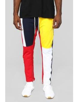 Block Party Track Pant   Yellow/Combo by Fashion Nova