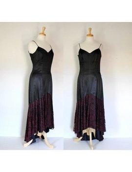 Vintage 90s Dress / Black Lace Dress / Black Slip Dress / Distressed Dress / Steampunk Dress / Gothic Dress / High Low Dress / Size S by Etsy
