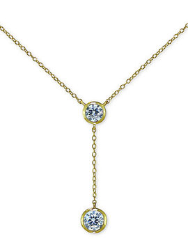 """Cubic Zirconia Bezel Lariat Necklace, 18"""" + 3"""" Extender, Created For Macy's by Giani Bernini"""