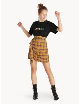 Midi Side Ruffled Plaid Skirt   Yellow by Pomelo
