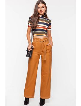 Stitched In Belted Wide Leg Pant by A'gaci
