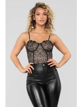 Habits Lace Bodysuit   Black/Nude by Fashion Nova