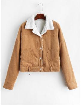 Fleece Drop Shoulder Corduroy Jacket   Light Brown L by Zaful