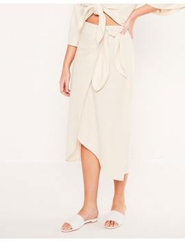 Linen Blend Tie Side Midi Skirt by Glassons