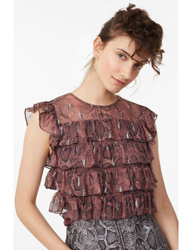 Snake Print Tiered Ruffle Top by Rebecca Taylor