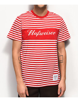 Huf X Budweiser Stripes Red T Shirt by Huf