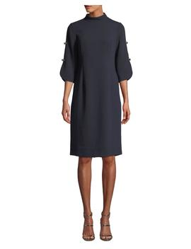 Button Sleeve Crepe Mock Neck Dress by Rickie Freeman For Teri Jon