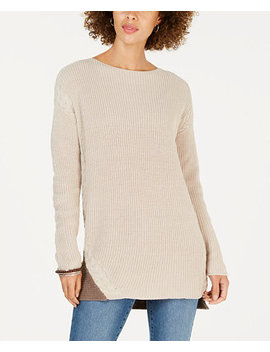 Cable Trimmed High Low Tunic Sweater, Created For Macy's by Style & Co