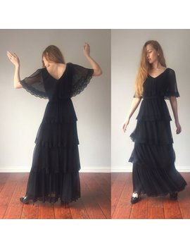 Vintage 1960s Dress / Miss Elliette California Gown 60s Maxi Dress / Sheer Cape Sleeve / Prom Party Evening Gown / Size S Small by Etsy