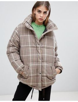 Bershka Check Padded Coat by Bershka
