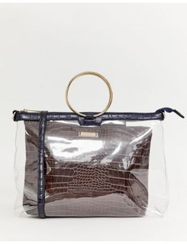 River Island Grab Handle Bag With Burgundy Pouch In Clear by River Island