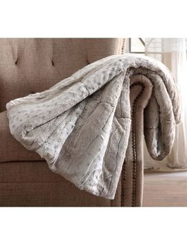 Neutral Snow Leopard Faux Fur Throw With Gift Box by Pier1 Imports