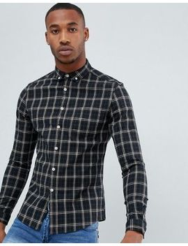 Asos Design Skinny Check Shirt In Black by Asos Design