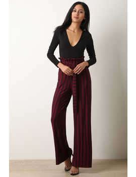 V Neck Long Sleeve Striped Twofer Palazzo Jumpsuit by Urbanog