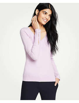 V Neck Pearlized Cuff Sweater by Ann Taylor