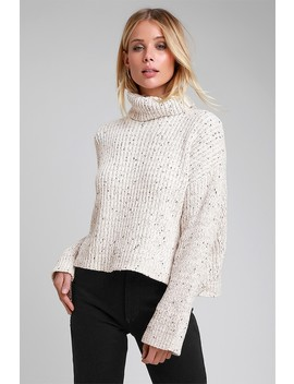 Ivywood Light Beige Marled Chenille Knit Turtleneck Sweater by Rd Style