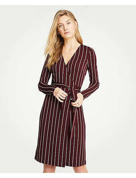 Striped Matte Jersey Wrap Dress by Ann Taylor