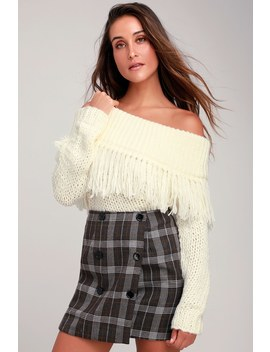 Love Again Ivory Off The Shoulder Fringe Knit Sweater by Lulu's