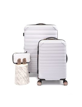 I Fly Hard Sided Fibertech Holiday Luggage Set, White/Rose Gold by I Fly