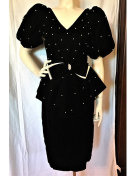 Vintage 80's Black Velvet Party Dress By Pantagis X Small Huge Pouf Sleeves, Nipped Waist, Dramatic Peplum Pearl Beads Free Shipping by Etsy