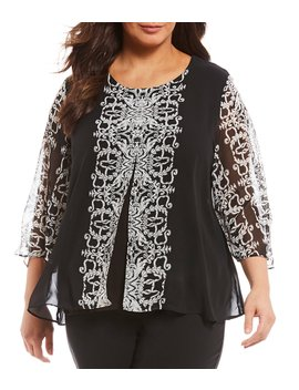 Plus Size Bell Sleeve Layered Top by Allison Daley