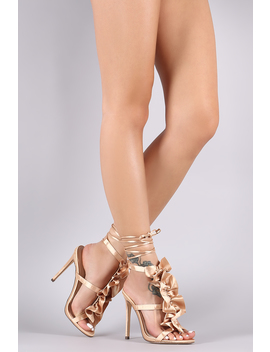 Ruffle Triple Straps Ankle Lace Up Stiletto Heel by Urbanog