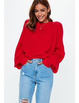 Red Crew Neck Balloon Sleeve Sweater by Missguided