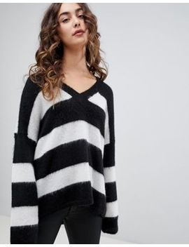 All Saints Oversized Fluffy Jumper In Stripe by All Saints