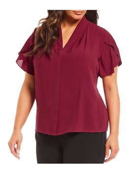 Plus Size Solid Tulip Sleeve Top by Calvin Klein