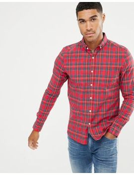Asos Design Skinny Check Shirt In Red Tartan by Asos Design