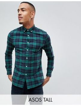 Asos Design Tall Stretch Slim Fit Check Shirt In Navy & Green by Asos Design