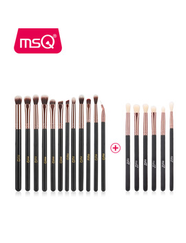 Msq 12pcs+6pcs Eye Makeup Brushes Set Professional Eyeshadow Blending Make Up Brushes Soft Synthetic Hair Without Skin Hurt by Msq