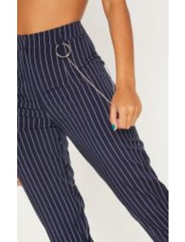 Navy Chain Detail Pinstripe Slim Leg Trouser by Prettylittlething