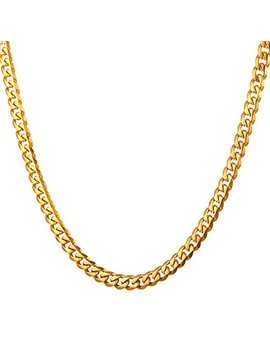 """U7 Men Stainless Steel Chain Black Color/18 K Gold Plated Cuban Curb Necklace,Length 18"""" 30"""", Width 3mm 6mm 9mm 12mm by U7"""