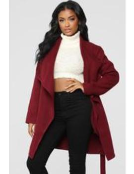Manhattan Coat   Wine by Fashion Nova