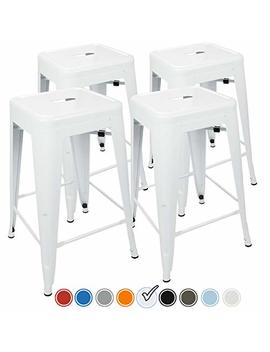 Urban Mod 24 Inch Bar Stools For Kitchen Counter Height, Indoor Outdoor Metal, Set Of 4, White by Urban Mod