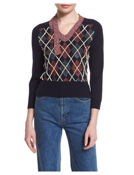 3/4 Sleeve Embellished Argyle Sweater, Navy by Neiman Marcus