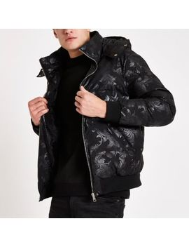 Criminal Damage Black Baroque Puffer Jacket by River Island
