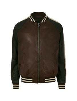 Pepe Jeans Brown Leather Tipped Bomber Jacket by River Island