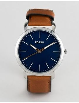 Мужские часы с синим циферблатом и коричневым кожаным ремешком Fossil Bq2311 by Asos