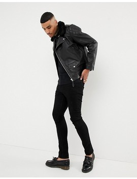 Schott Lc Enfield 2 Leather Biker Jacket Detachable Faux Fur Collar Slim Fit In Black by Schott