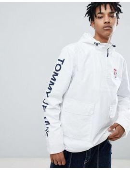 Tommy Jeans Sleeve Logo Overhead Hooded Jacket In White by Tommy Jeans
