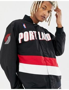 Mitchell & Ness Nba Portland Trail Blazers Authentic Warm Up Jacket In Black by Mitchell & Ness