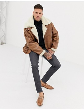 River Island Fleece Lined Biker Jacket In Tan by River Island