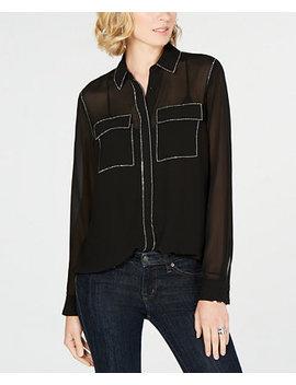 Sheer Rhinestone Embellished Shirt by Michael Michael Kors