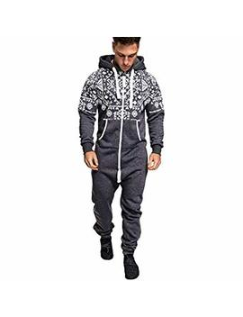 Men's Christmas Onesie Jumpsuit One Piece Non Footed Pajamas Unisex Adult Hooded Overall Zip Up Playsuit Xmas Romper (Grey, Xxxl) by Mayunn