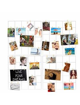 4 Pcs Multifunction Metal Mesh Wire Grid Panel With 30 Clips,Wall Decor/Photo Wall/Art Display & Organizer(White) by Hpwai
